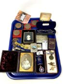 A tray containing Victorian daguerreotype, silver Order of Buffaloes medal, watch keys,