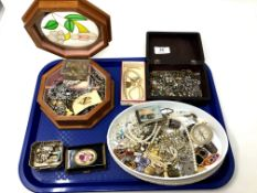 A tray containing costume jewellery, compass, Albert chain etc.