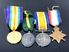 A First World War Medal group, comprising Victory Medal, British War Medal,