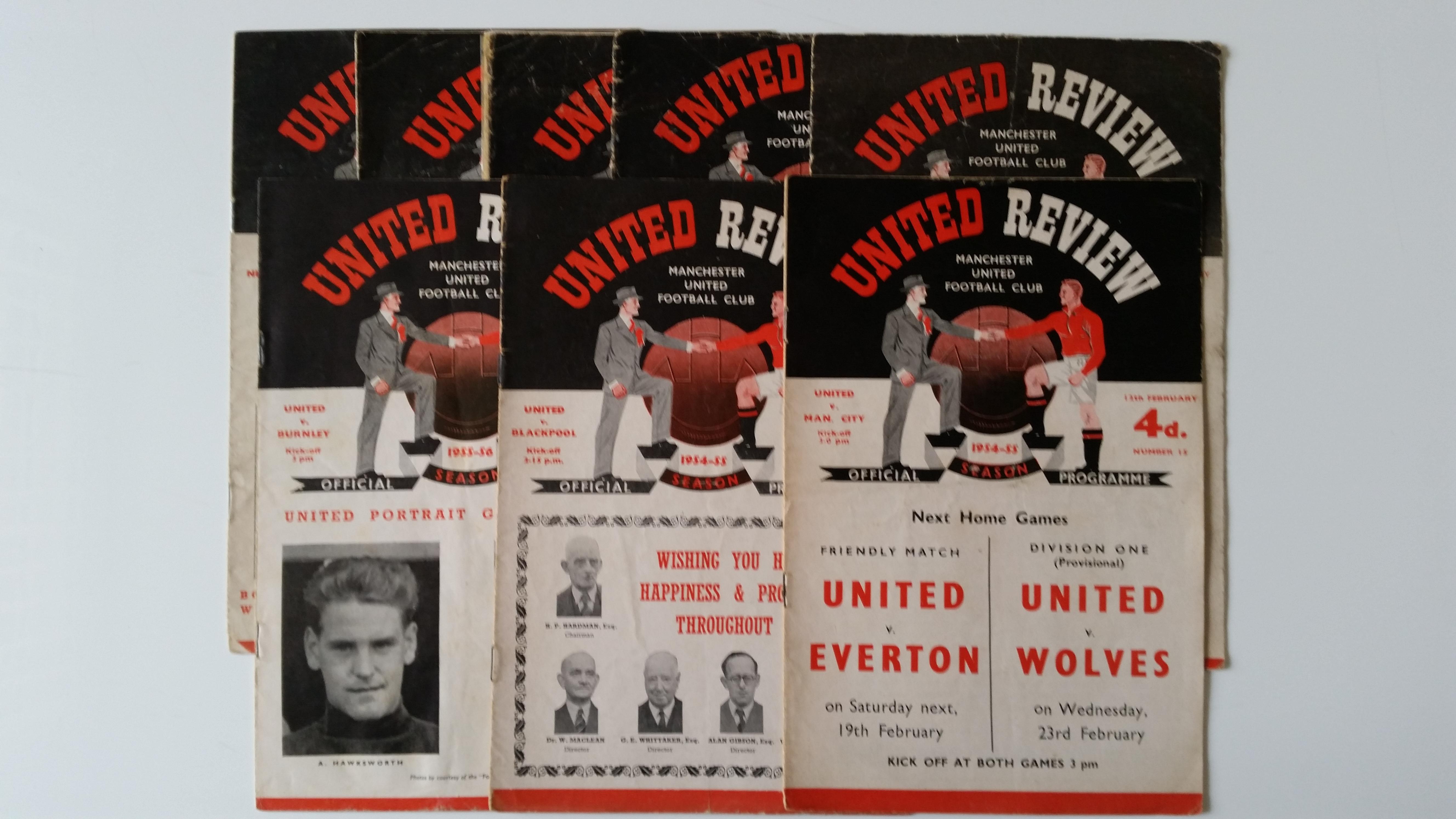 FOOTBALL, Manchester United home programmes, inc. Wolverhampton Wanderers 1952/3; Arsenal 1953/4;
