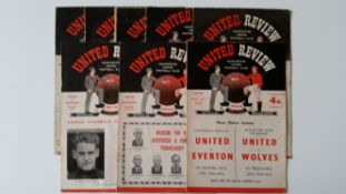 FOOTBALL, Manchester United home programmes, inc. Wolverhampton Wanderers 1952/3; Arsenal 1953/4;