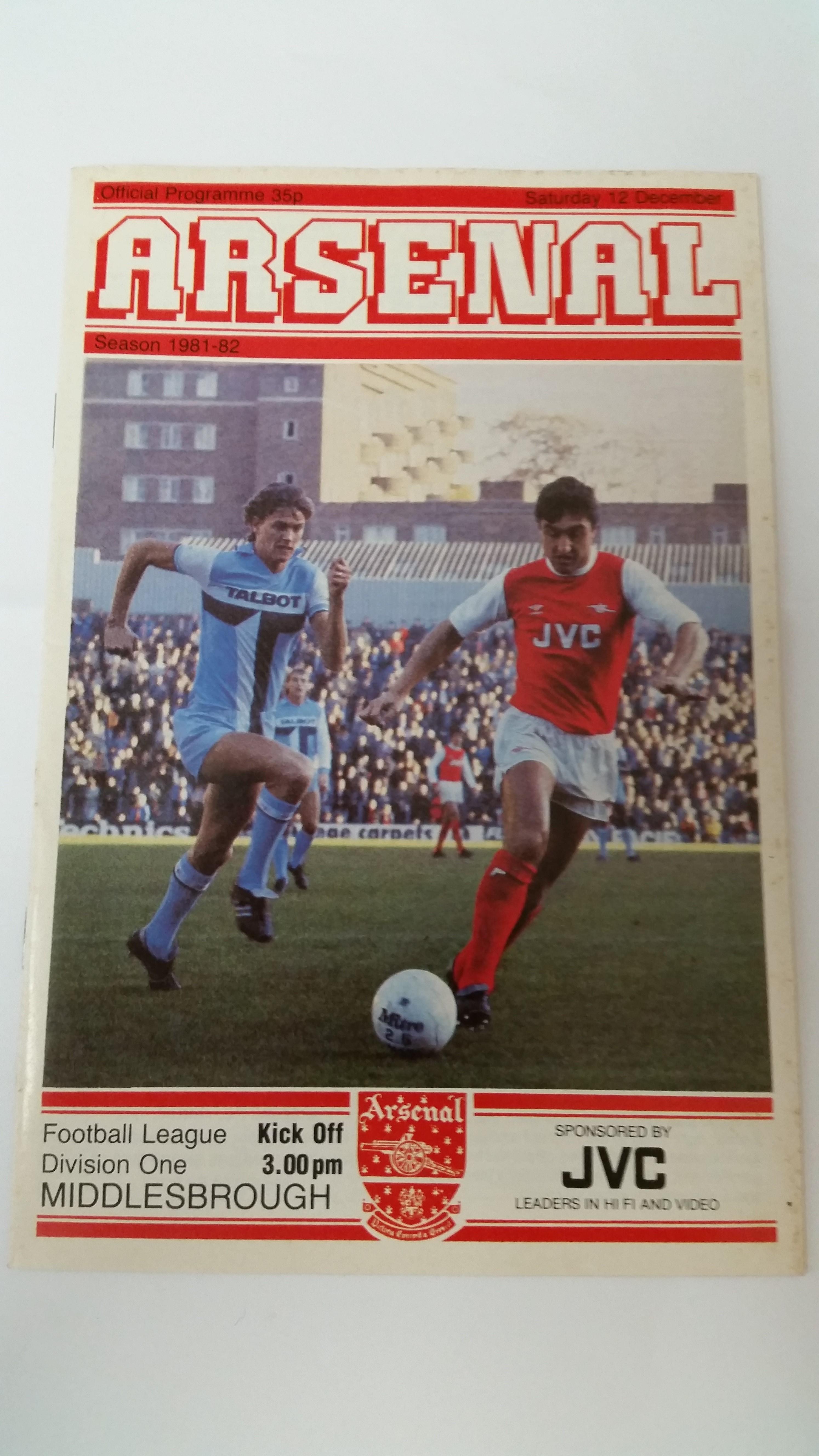FOOTBALL, programme, Arsenal v Middlesbrough, 12th Dec1981 postponed match, VG to EX