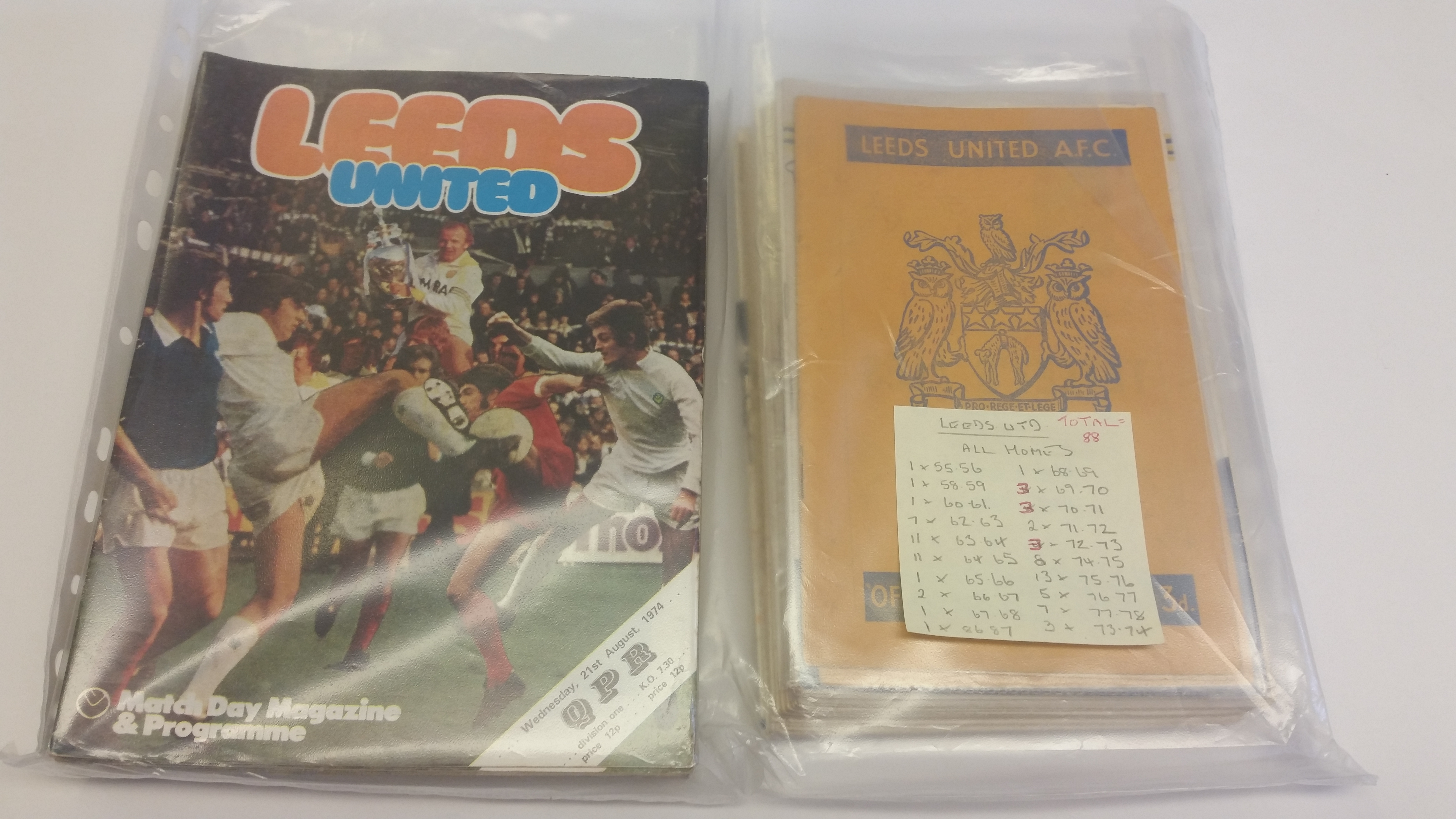 FOOTBALL, Leeds United home programmes, 1950s-1980s, inc. v Manchester City, Nottingham Forest,