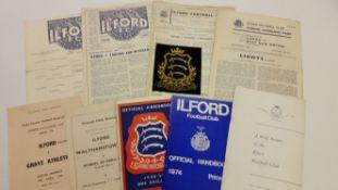 FOOTBALL, Ilford selection inc. programmes, (5), v Walthamstow & Barking, ES Cup Semi & Final
