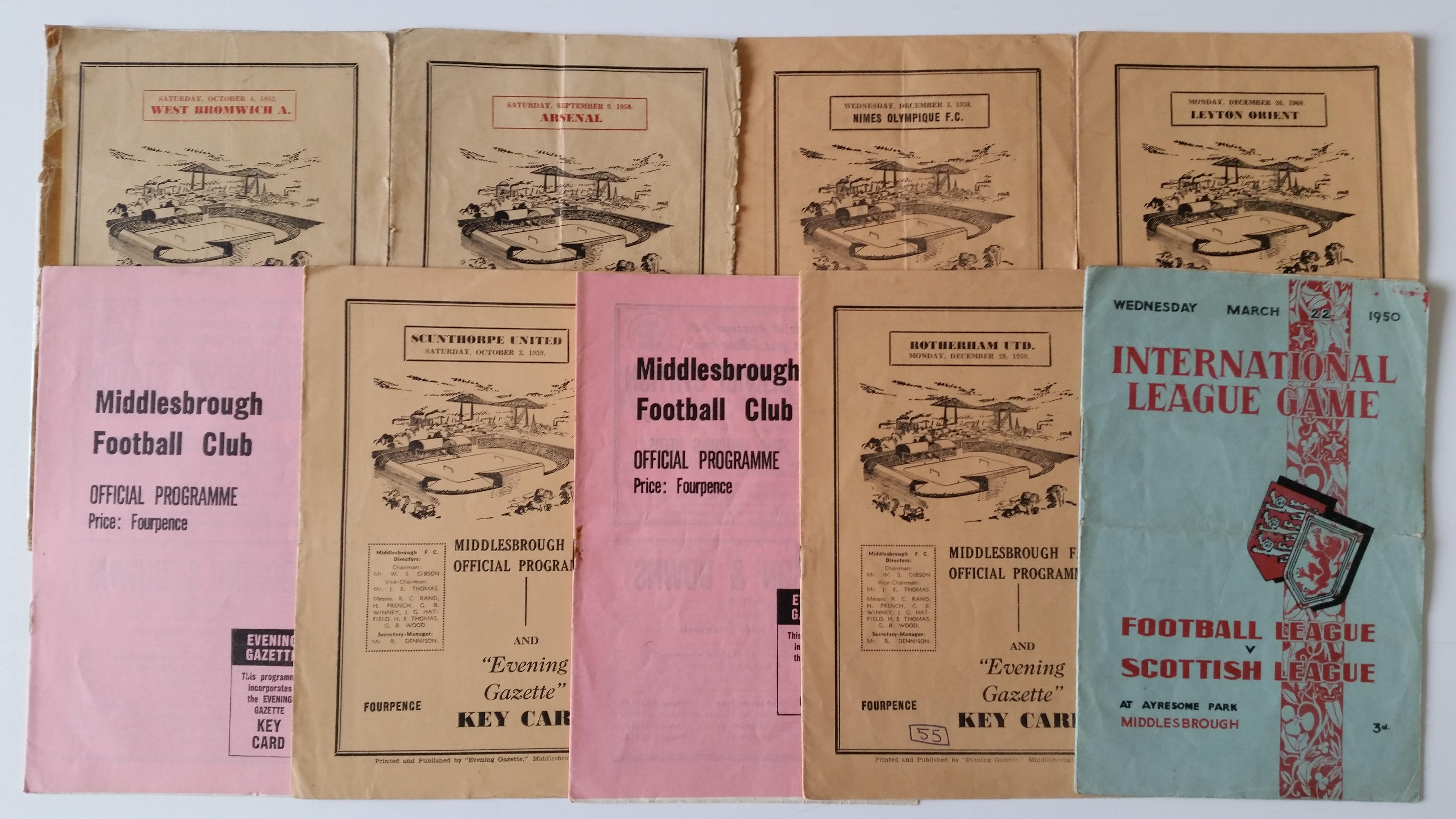 FOOTBALL, Middlesborough home programmes, buffs (6) & pinks, inc. v Arsenal 1950/1, West Bromwich