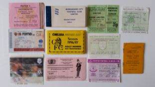 FOOTBALL, tickets, 1964/5 onwards, inc. Darlington, Birmingham, Chelsea (season ticket books);