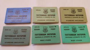 FOOTBALL, Tottenham Hotspur season ticket booklets, 1973/4, 1974/5, 1975/6, 1978/9, 1979/80 & 1980/