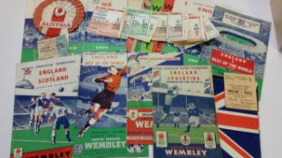 FOOTBALL, England home selection, inc. programmes, 1950s (15), 1960s (1); tickets, 1950s (1),