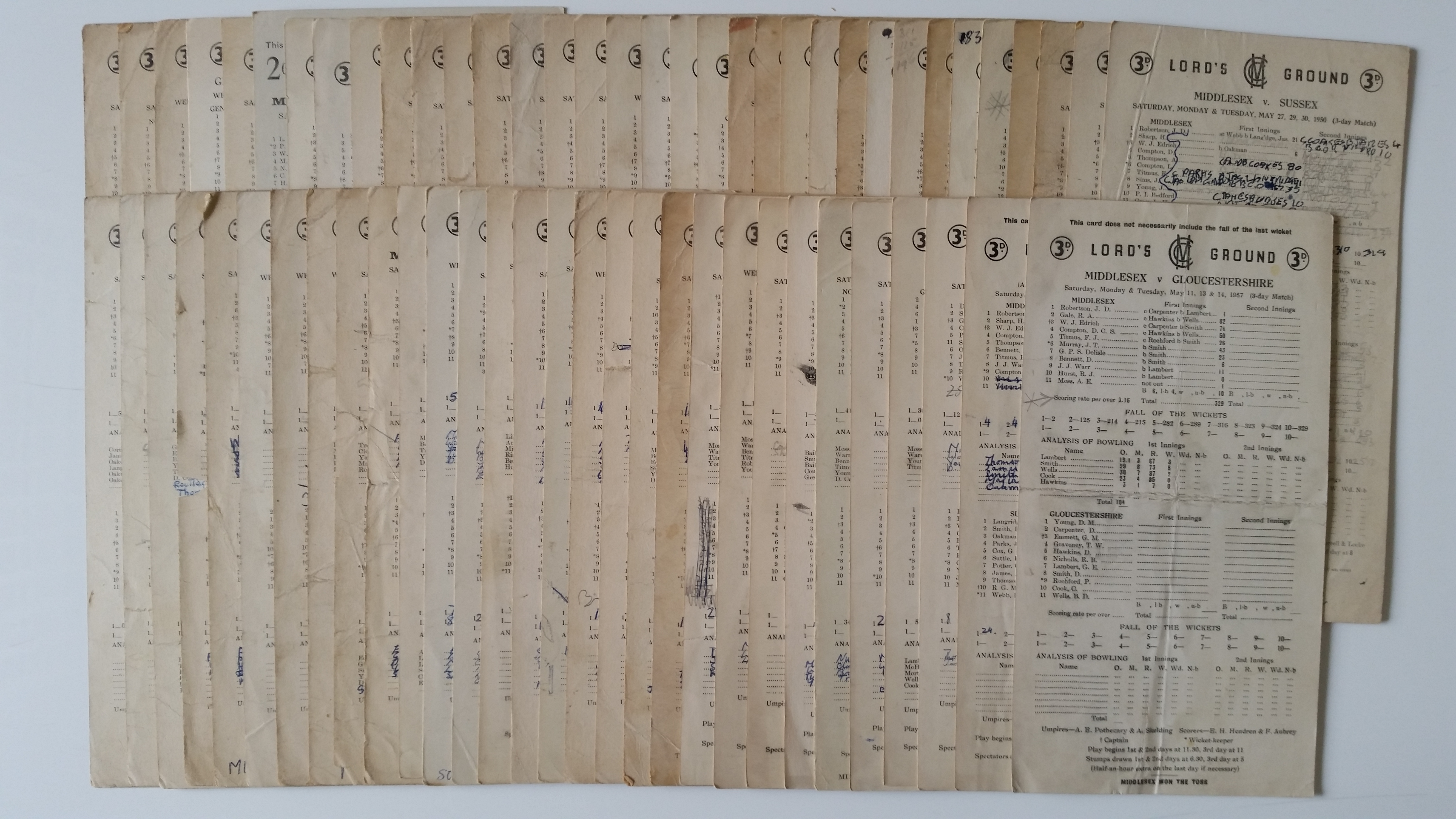 CRICKET, Lords scorecards, 1949-1958, inc. Middlesex (36), MCC (12) & England, FR to VG, 63*