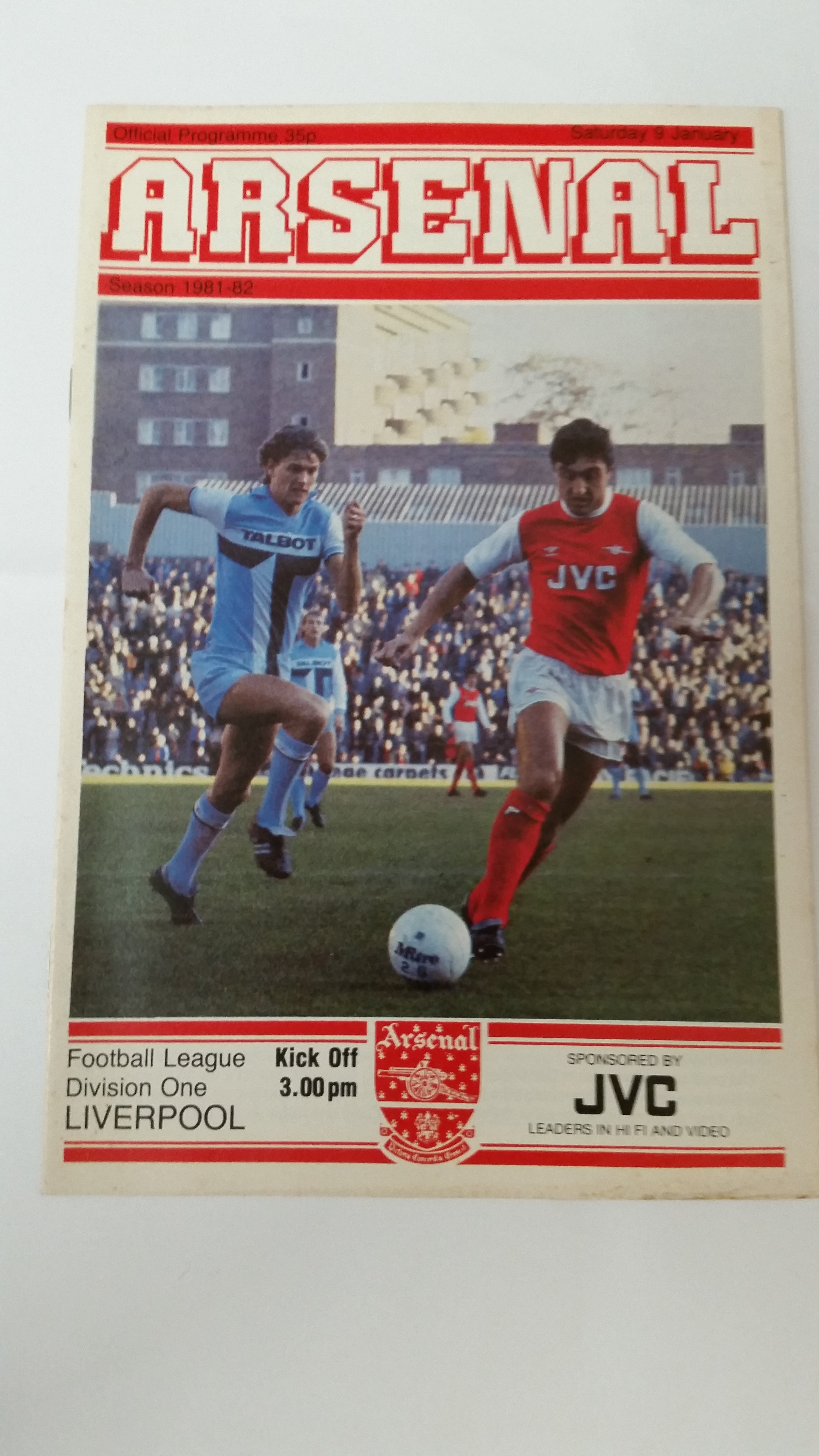 FOOTBALL, programme, Arsenal v Liverpool, 9th Jan 1982 postponed match, VG to EX