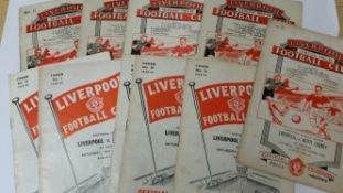 FOOTBALL, Liverpool home programmes, 1952-1960, inc. Newcastle 1952/3, Manchester United,