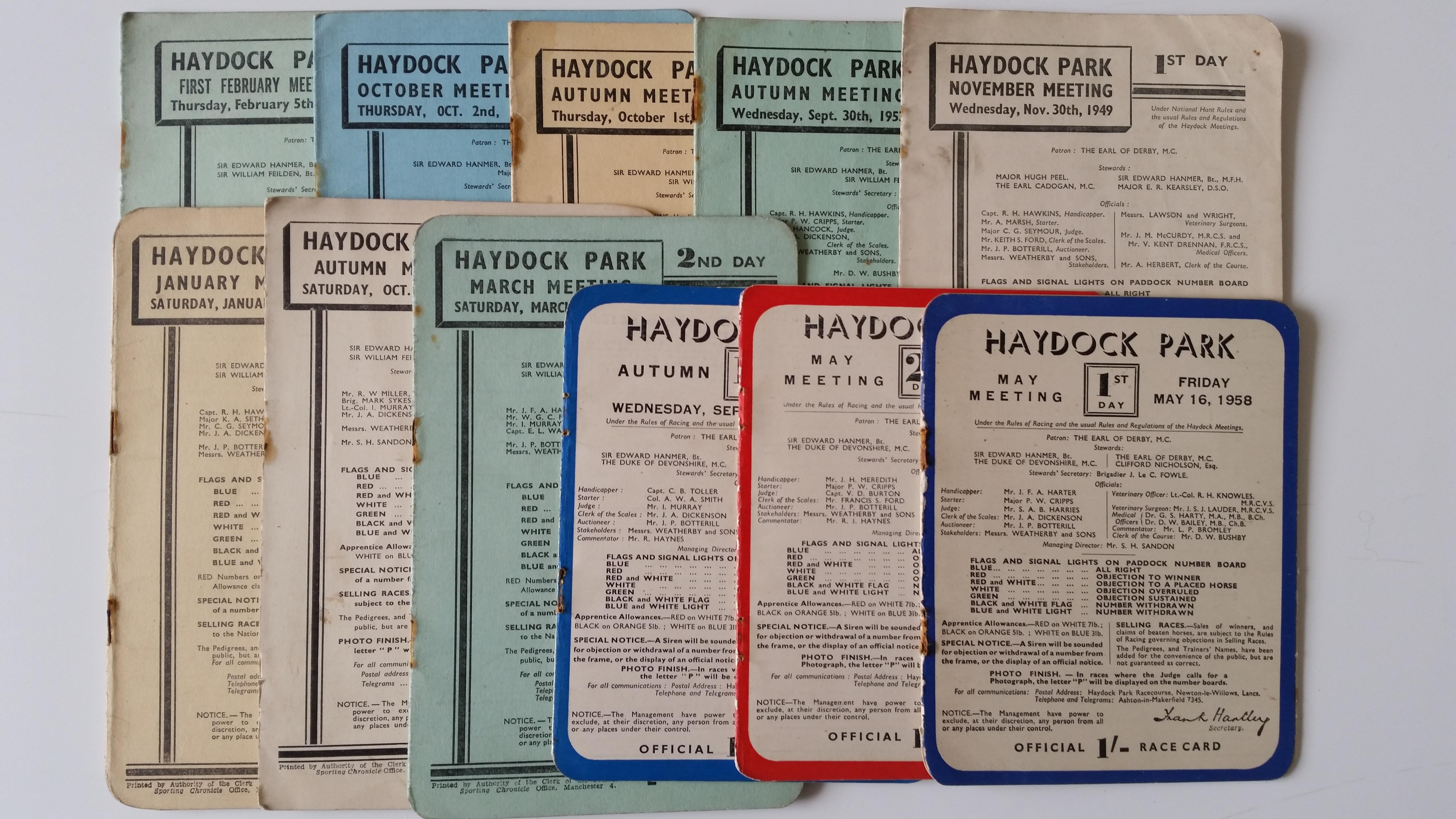 HORSE RACING, Haydock Park programmes, 1949-1960, G to VG, 11