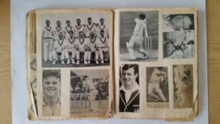 CRICKET, scrap book, laid down with newspaper photos etc. , inc Suttle, Griffith, Illingworth,