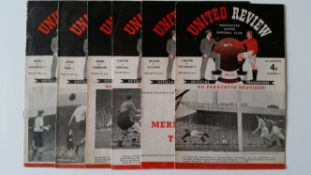 FOOTBALL, Manchester United home programmes, 1951/52, inc. v Tottenham Hotspur, Fulham, Arsenal,