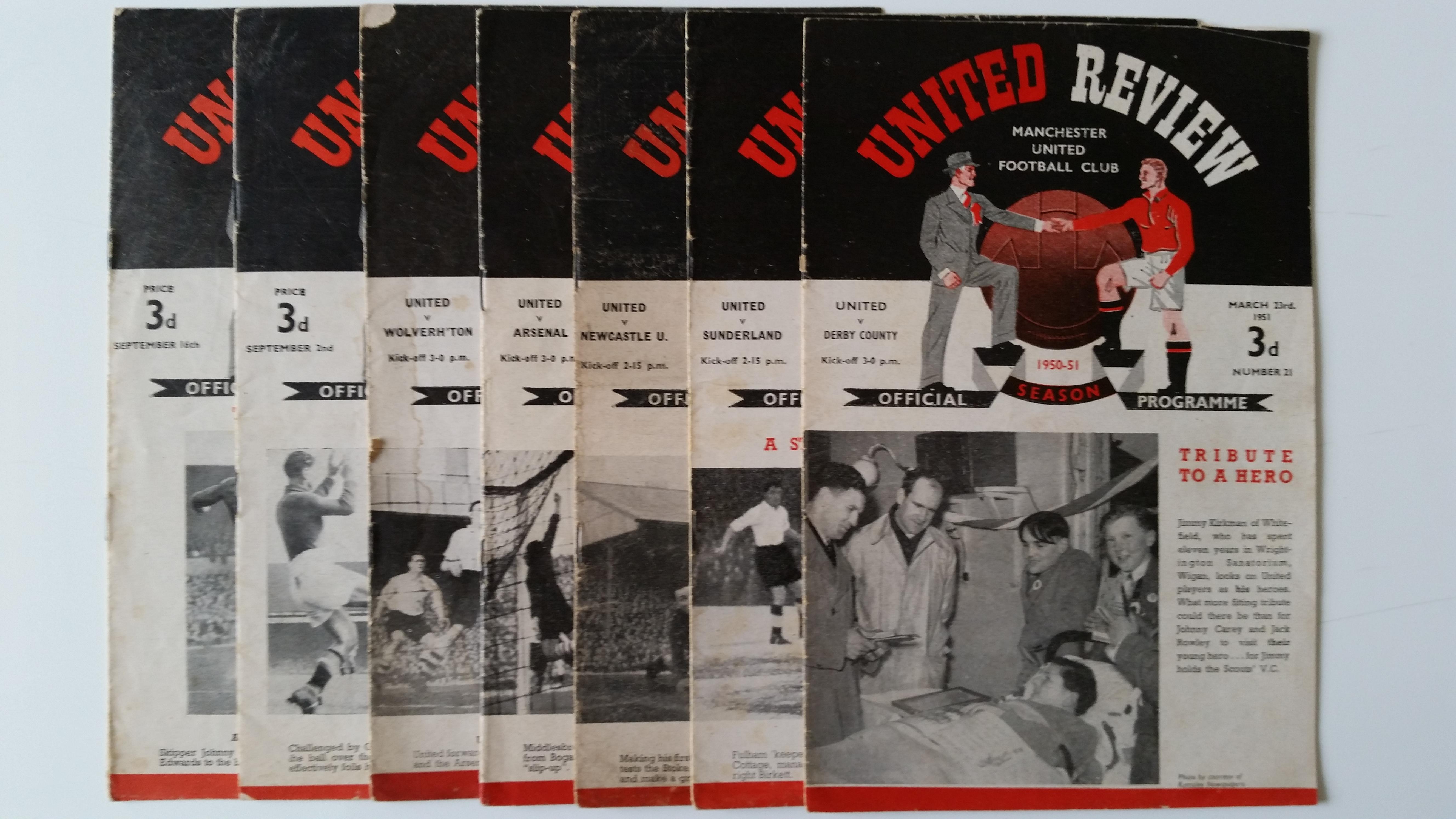 FOOTBALL, Manchester United home programmes, 1950/1, inc. v Derby County, Sunderland, Newcastle