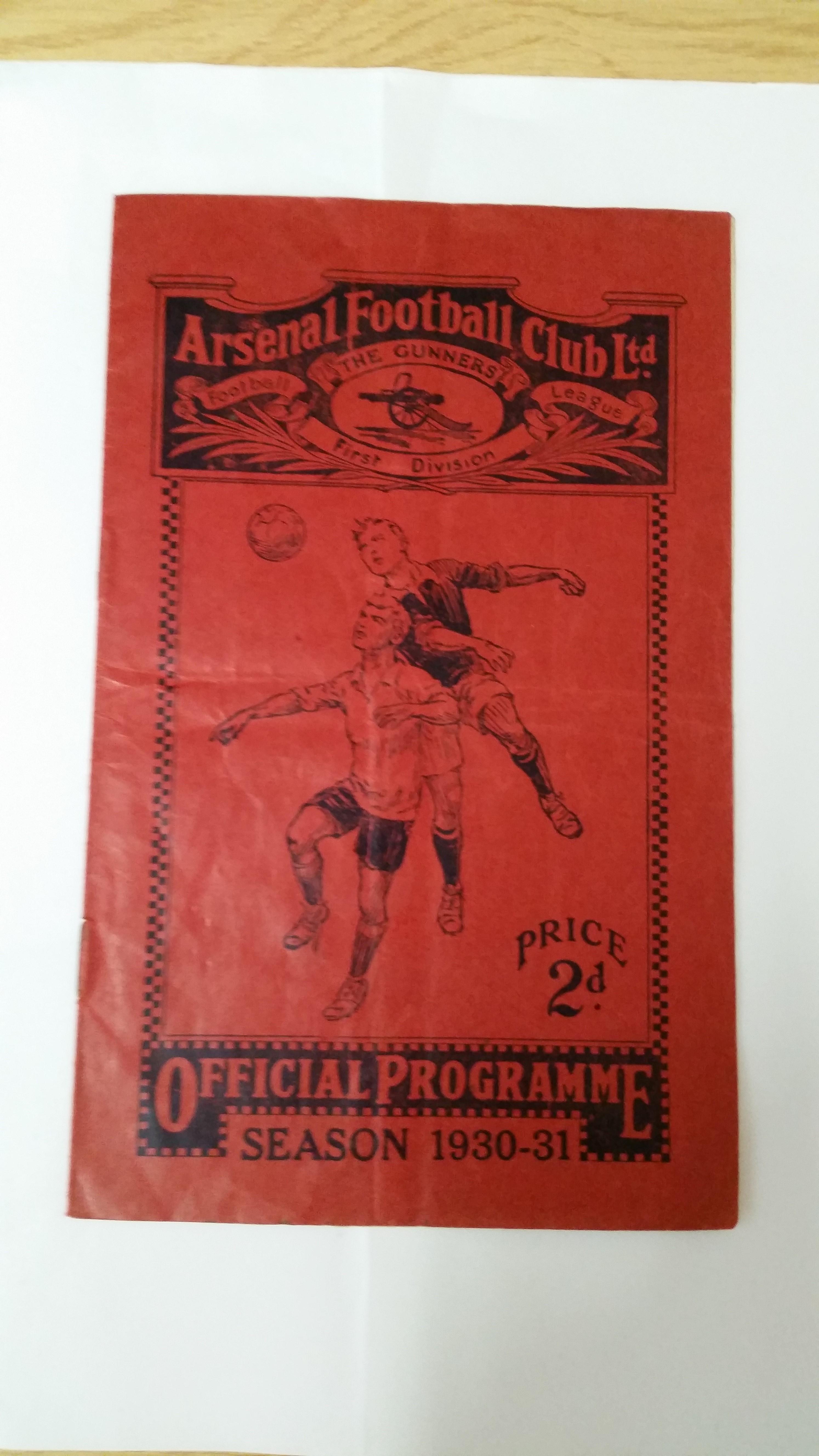 FOOTBALL, Arsenal home programme, v Portsmouth, 1930/1, minor folds, no writing, G