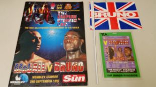 BOXING, Frank Bruno selection, inc. v Oliver McCall (1995), programme (signed to cover by Bruno),