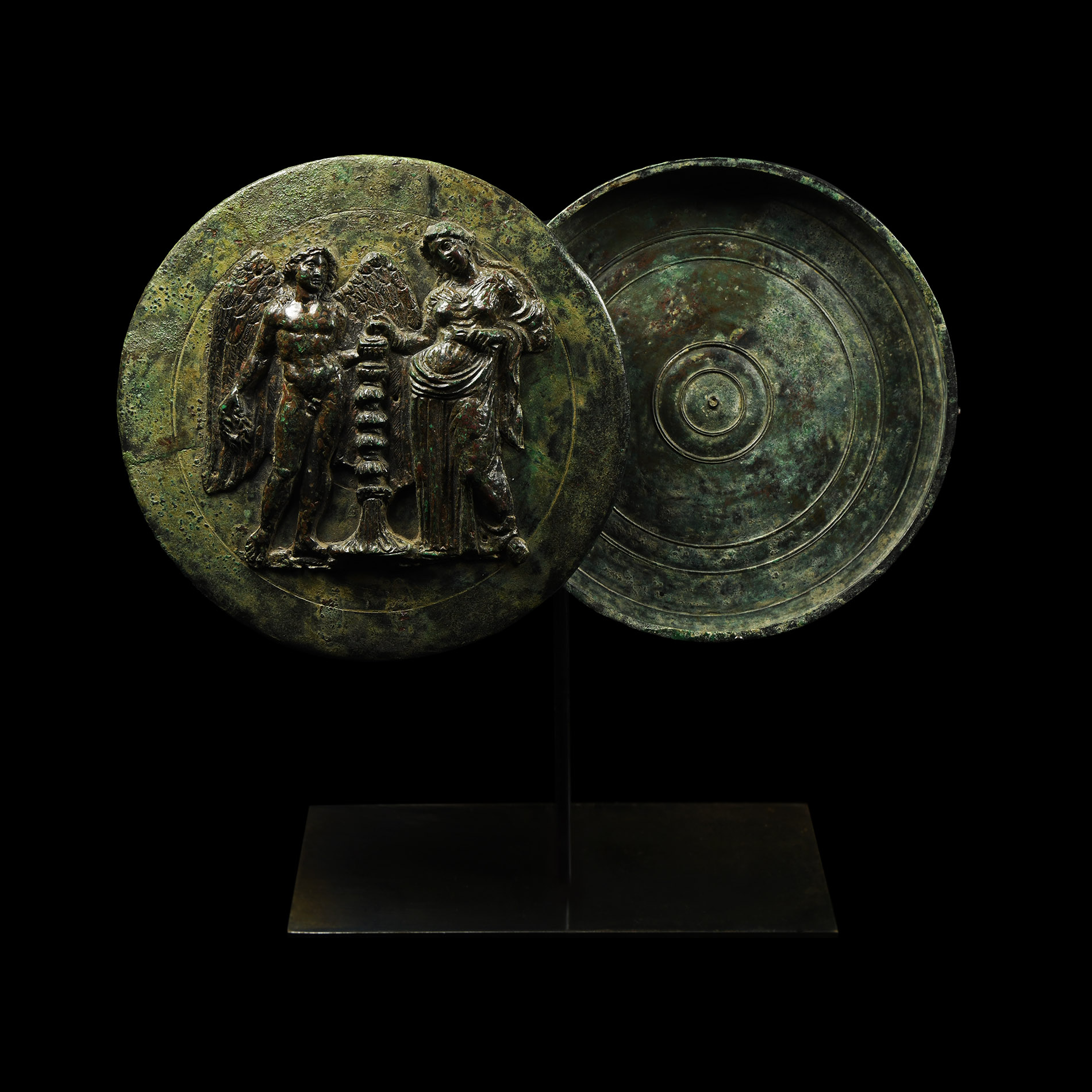 Greek Mirror with Aphrodite and Eros - Image 2 of 2