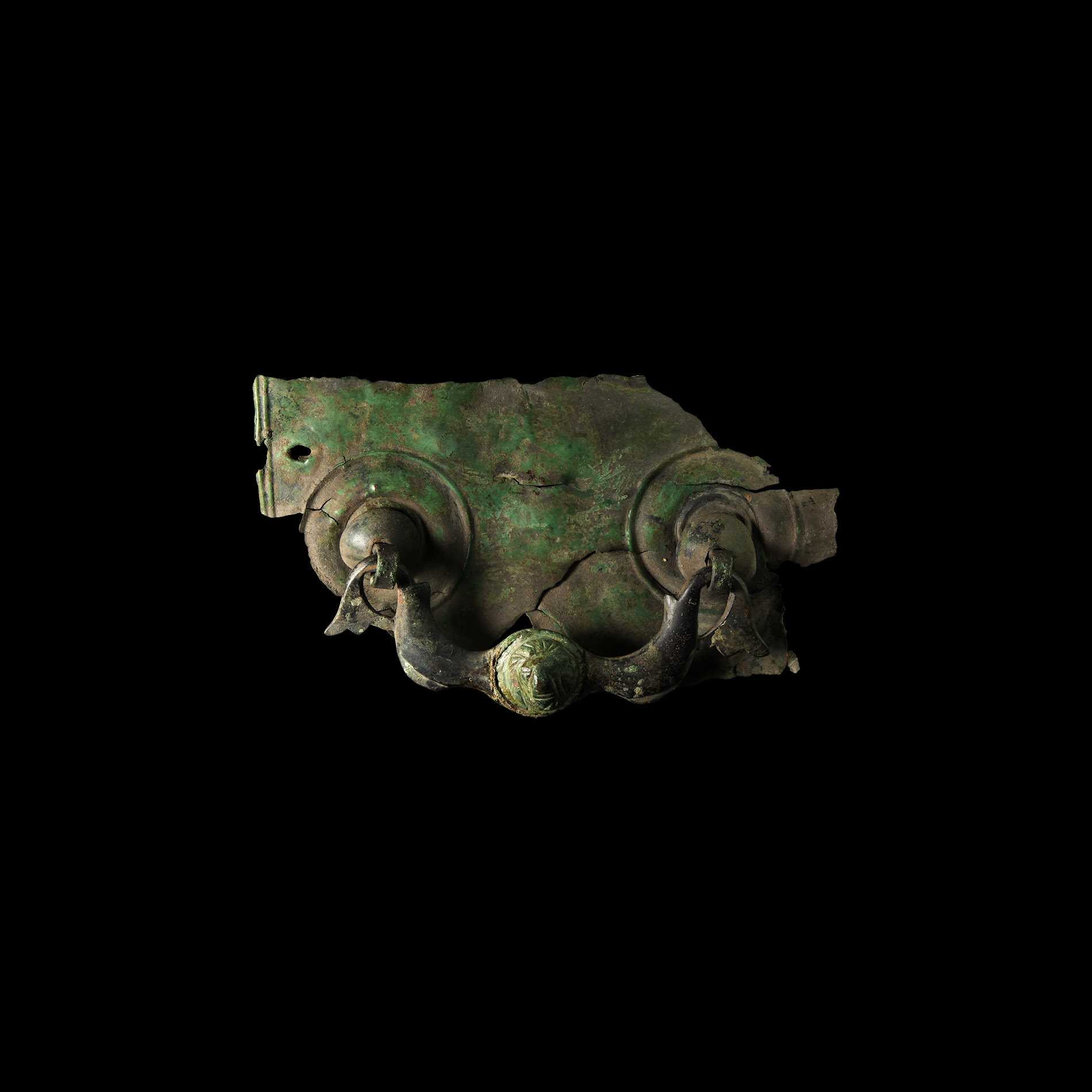 Roman Casket Handle with Dolphins and Lion Head