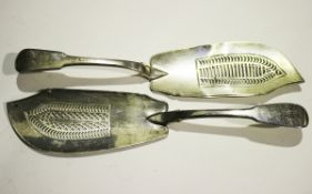 A George III silver Fiddle pattern fish slice with pierced blade, London 1811 by William Eley,