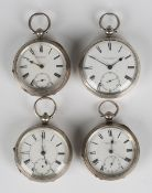 A Victorian silver cased key wind open-faced gentleman's pocket watch, the gilt movement detailed '