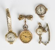 An 18ct gold circular cased lady's wristwatch with unsigned jewelled lever movement, import mark