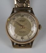 An Accurist Nivaflex 9ct gold circular cased gentleman's wristwatch with signed jewelled movement,
