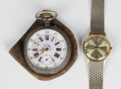 A silver keyless wind open-faced gentleman's pocket watch with unsigned jewelled cylinder