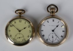 A gilt metal cased keyless wind open-faced gentleman's pocket watch, the jewelled lever movement