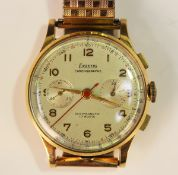 An Exactus gold cased gentleman's chronograph wristwatch, the signed silvered dial with Arabic