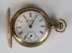 A Standard USA gilt metal keyless wind hunting cased fob watch, the gilt lever movement detailed '