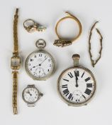 A silver circular cased lady's wristwatch with unsigned jewelled lever movement, import mark