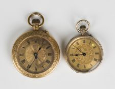 An Edwardian 9ct gold cased keyless wind open faced lady's fob watch with unsigned gilt cylinder