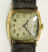 A Movado 9ct gold cushion cased gentleman's wristwatch, the circular jewelled movement detailed '