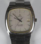 An Omega Seamaster Quartz steel cased gentleman's bracelet wristwatch, the signed cushion shaped