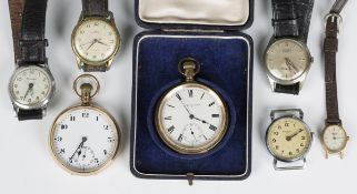 A 9ct gold cased keyless wind open-faced gentleman's pocket watch, the unsigned jewelled lever