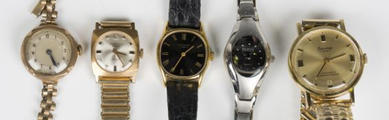A 9ct gold cased lady's wristwatch, Chester 1936, case width 2.5cm, on a gilt metal bracelet,
