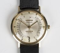 A Longines Automatic 5-star Admiral gilt metal cased gentleman doctor's wristwatch, the signed