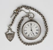 A silver cased keywind open-faced pocket watch, the gilt movement detailed 'Waltham Mass 5293298',