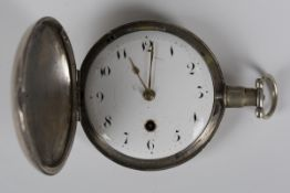 A George III silver hunting cased gentleman's pocket watch with gilt fusee movement, mask engraved