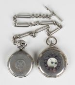 A silver keyless wind half-hunting cased gentleman's pocket watch, the jewelled gilt movement