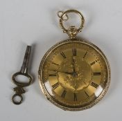 An 18ct gold cased keywind open-faced fob watch with three-quarter plate gilt lever movement, the