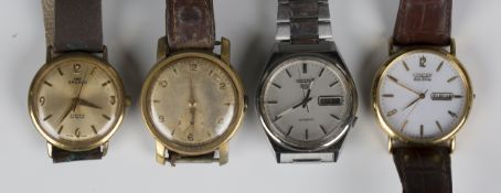 A Seiko 5 Automatic steel cased gentleman's bracelet wristwatch, case width 3.5cm, together with a