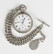 A silver cased keyless wind open-faced gentleman's pocket patch, the jewelled lever movement