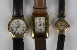A Tissot 14ct gold circular cased lady's wristwatch, the signed dial with gilt baton hour markers