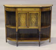 A late Victorian rosewood chiffonier base with foliate inlaid decoration, on turned supports, height