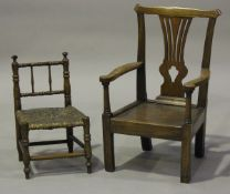 A George III ash child's armchair with pierced splat back and solid seat, on block legs, height