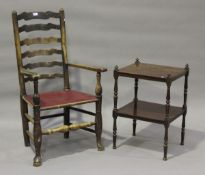 A 19th century ash ladder back carver chair, on turned legs united by stretchers, height 110cm,