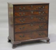 A 19th century mahogany secrétaire chest, the fall front revealing a fitted interior above three