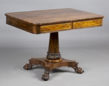 A Regency rosewood centre table, in the manner of Gillows, fitted with opposing frieze drawers,